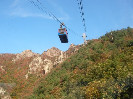On the way up in the cable car