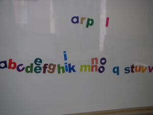 The kids have to use magnets to spell the words as fast as they can.  There are some pretty funny results at times. (April)